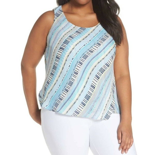NIC + ZOE Blue Women's Size 1X Plus Stripe Print Sleeveless Blouse