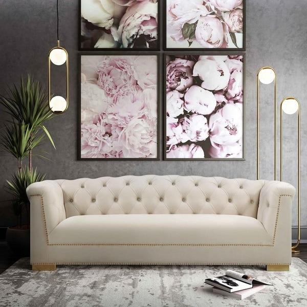 Farah Cream Velvet Sofa. Opens flyout.