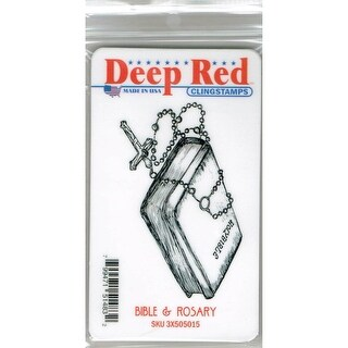 Deep Red Stamps Bible and Rosary Rubber Cling Stamp - 3.25 x 1.75