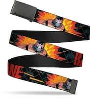 "Blank Black 1.25"" Buckle Bane Pose Explosion Bat Signal Chain-link Black Web Belt 1.25"" Wide - M"