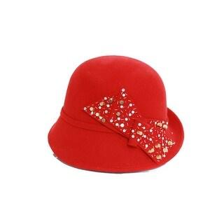 Ladies Wool Felt Hat w/ Lage Bow/Beads