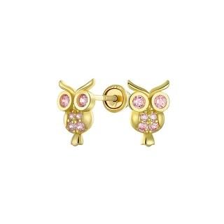 CZ Wise Owl Bird Stud Earrings Real 14K Yellow Gold Screwback