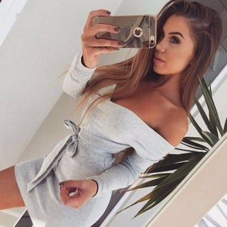 Womens Gray Long Sleeve Off Shoulder Mini Dress + Gift Necklace