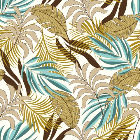 Trendy summer Hawaii Leaves Removable Wallpaper - 24'' inch x 10'ft