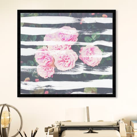 Oliver Gal 'Blooming Strokes' Floral and Botanical Wall Art Framed Print Florals - Pink, Green