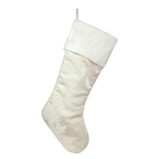 Set of 4 Metallic Cream and White Poinsettia Christmas Stocking 22