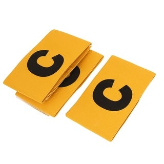 3 Pcs Yellow Elastic Fabric Football Soccer Captain Arm Band with Black Letter C Printed