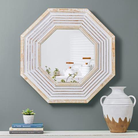 "Glitzhome 29""H Vintage Octagonal Wooden Wall Mirror"