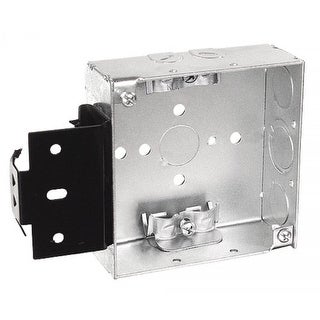 5 Pcs, 4 Square Junction Box with Metal Stud Bracket, 1-1/2 in. Deep with Clamps for NM Cable, .0625 Galvanized Steel