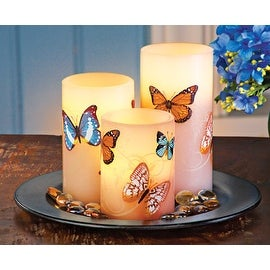 LED Butterfly Pillar Candle Set with Tray - 3 pc