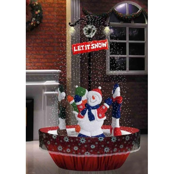 "5.5' Lighted Musical ""Let It Snow"" Rotating Snowmen Snowing Christmas Street Lamp Decoration"