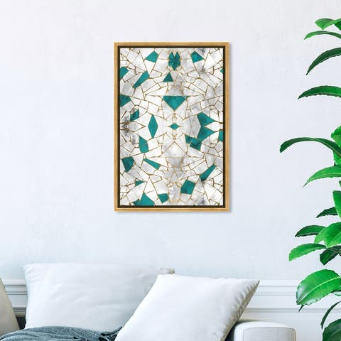 Oliver Gal 'Emerald Stone' Abstract Wall Art Framed Canvas Print Patterns - Gold, Green