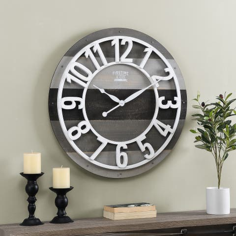 FirsTime & Co.® Gray Shabby Farmhouse Planks Clock, American Crafted, Aged White, Wood, 27 x 2 x 27 in - 27 x 2 x 27 in