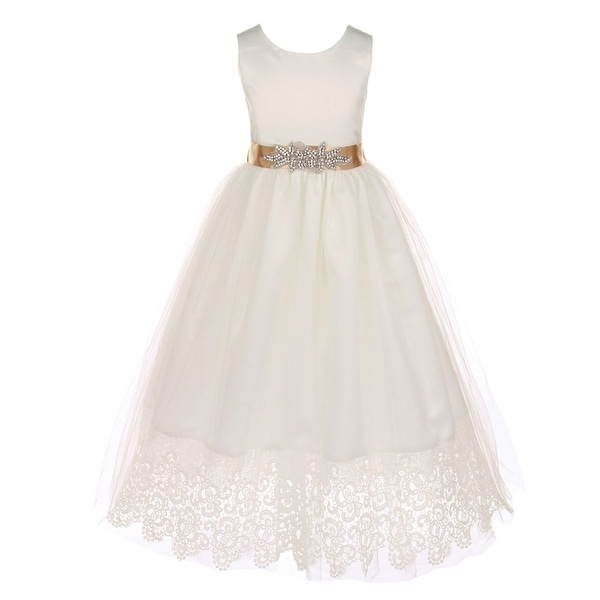 42f5e7903 Shop Little Girls Off-White Champagne Bridal Satin Lace Flower Girl Dress -  Free Shipping Today - Overstock - 19292731