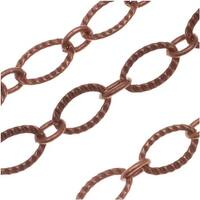Antiqued Copper Plated Long Short Etched Textured Oval Chain 6.5mm - Bulk By The Foot