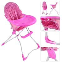 Baby High Chair Infant Toddler Feeding Booster Seat Folding Safety Portable - Pink