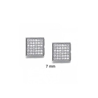 Bling Jewelry Micro Pave Hexagon Square Stud earrings 925 Sterling Silver 6mm