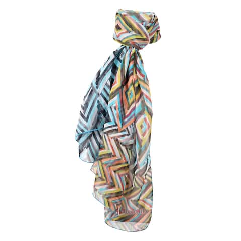 Missoni Yellow/Blue Long Chevron Chiffon Silk Stole Scarf - 28-79
