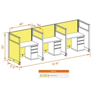 Cubicle Workstations 53H 3pack Inline Powered (3x4 - White Desk White Paint - Assembled)