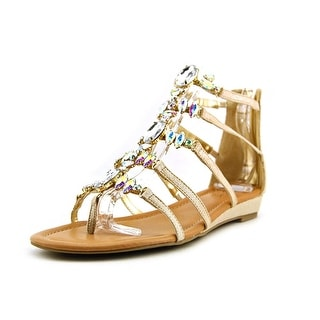Thalia Sodi Pilar Women Open Toe Canvas Gold Gladiator Sandal
