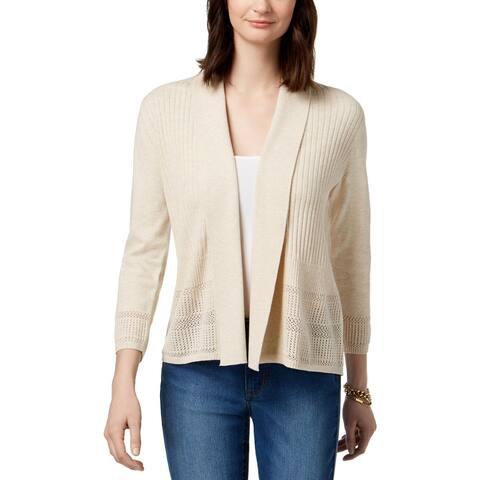 Karen Scott Womens Petites Cardigan Sweater Pointelle Knit Pleated