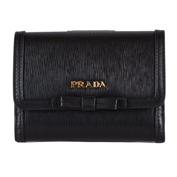 91eee8e17ac Prada 1MH523 Black Vitello Leather Small Bowtie Bifold French Wallet W/Coin  - 5