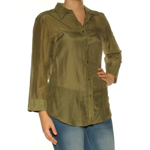 Ralph Lauren Womens Green Cuffed Collared Button Up Top Size: S