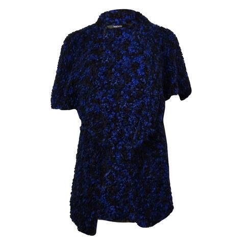 kensie Women's Draped Sleeveless Boucle Cardigan - Striking Blue Combo - S