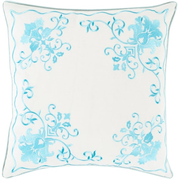"""18"""" Lily White and Ocean Blue Metallica Floral Decorative Throw Pillow - Down Filler"""