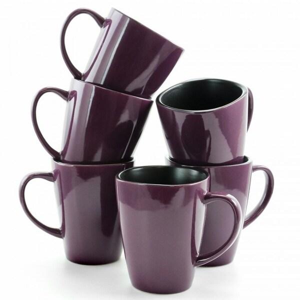 Elama Mulberry 14 oz Stoneware Mugs in Purple, Set of 6. Opens flyout.