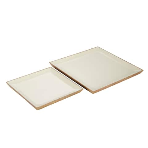 """Square Wood Tray With White Enamel Inlay Set Of 2 12"""" 16"""" - 16 x 16 x 1"""