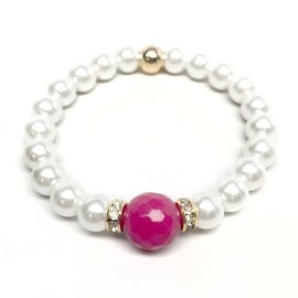 Pearl & Fuchsia Quartz 'Joy' stretch bracelet 14k Over Sterling Silver