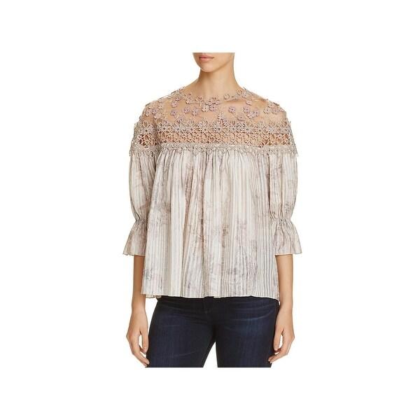 f5dd0e7ab804 Shop Elie Tahari Womens Neila Peasant Top Silk Blend Crochet Trim ...