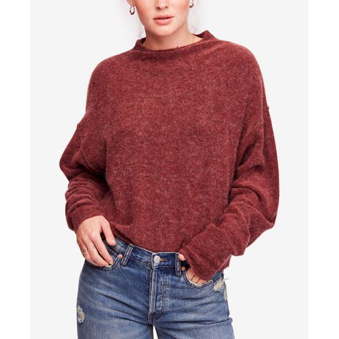 Free People Red Women's Size Large L Mock Neck Pullover Sweater