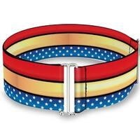 Wonder Woman Stripe Stars Red Gold Blue White Cinch Waist Belt   ONE SIZE