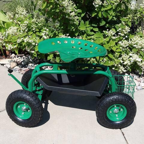 Sunnydaze Garden Cart with Steering Handle, Swivel Seat and Basket - Green