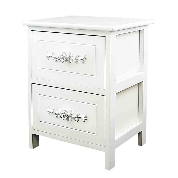 DL-Furniture Fully Assembled Wood Elegant Night Stand or Storage Shelf Organizer | Snowflake white. Opens flyout.