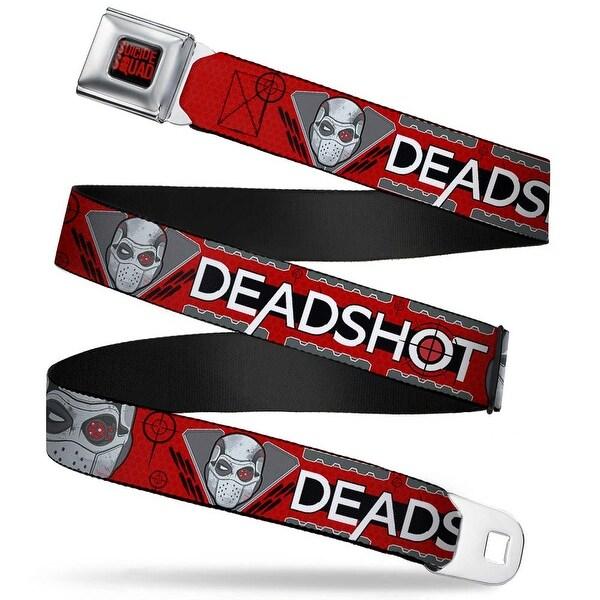 Suicide Squad Logo Full Color Black Red Suicide Squad Deadshot Face Targets Seatbelt Belt