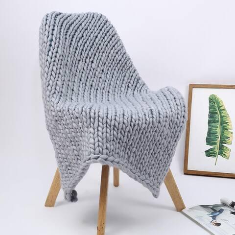 TiramisuBest Chunky Knit Blanket Handmade Knitting Warm Throw Blanket