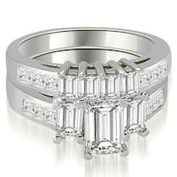 2.50 cttw. 14K White Gold Channel Princess and Emerald Cut Diamond Bridal Set HI, SI1-2