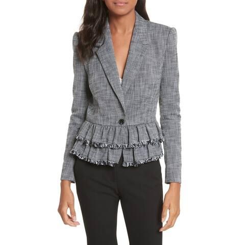 Rebecca Taylor Gray Womens Size 10 Notch Lapel One-Button Blazer