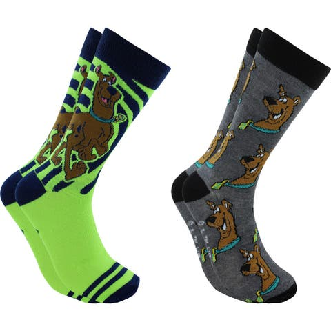 Hyp Scooby-Doo Faces Men's Crew Socks 2 Pair Pack Shoe Size 6-12