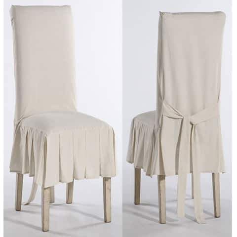 Pleated Dining Chair slipcover short (set of 2) - N/A