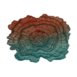 Gradient Green & Orange Oyster Shell Shaped Decorative Glass Dish