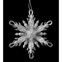 "4.5"" Icy Crystal Silver Glitter Snowflake with Looped Tips Christmas Ornament - CLEAR"