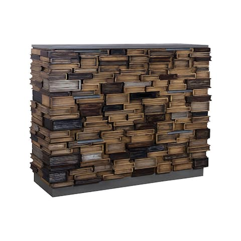 """42"""" Multicolor Unique Hand Painted Book Stack 3-Drawer Chest"""