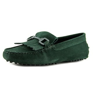 Tod's Gommini Morsetto Women Round Toe Suede Green Loafer