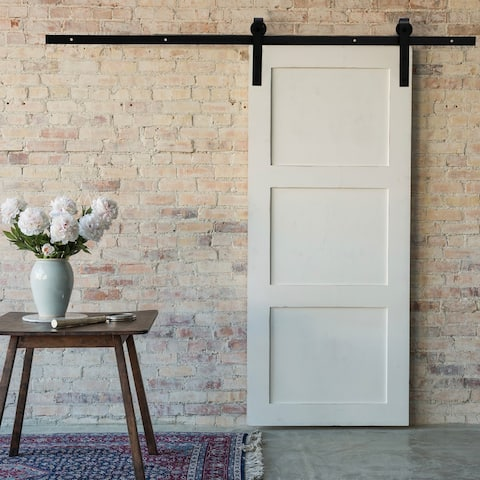 CO-Z 6.6FT Sturdy Black Single Sliding Barn Door Hardware Set Kit with Door Handle and Floor Guide
