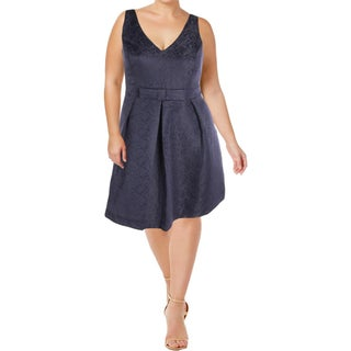 City Chic Womens Plus Cocktail Dress Jacquard Bow