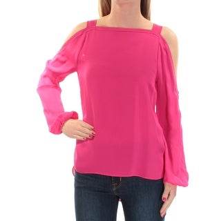 TAHARI $278 Womens New 1472 Pink Cut Out Square Neck Long Sleeve Top XS B+B